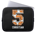 Personalized Basketball Number 5 Laptop Computer Sleeve