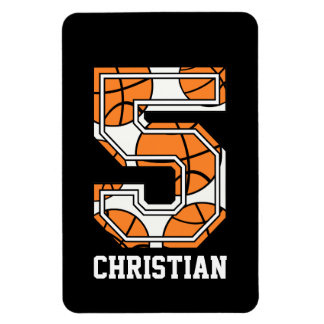 Personalized Basketball Number 5 Magnet