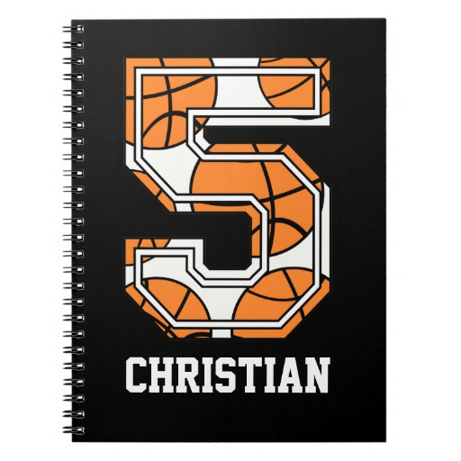 Personalized Basketball Number 5 Note Books