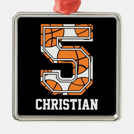 Personalized Basketball Number 5 Christmas Tree Ornaments