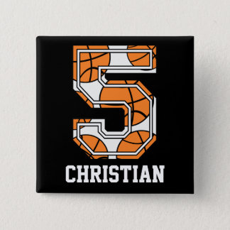 Personalized Basketball Number 5 Pinback Button