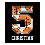 Personalized Basketball Number 5 Print
