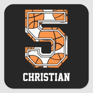 Personalized Basketball Number 5 Square Sticker