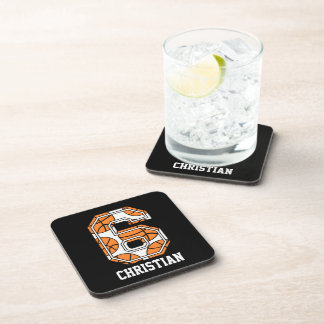 Personalized Basketball Number 6 Drink Coaster