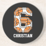 Personalized Basketball Number 6 Drink Coasters