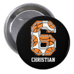 Personalized Basketball Number 6 Pinback Buttons