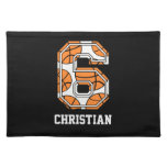 Personalized Basketball Number 6 Place Mat