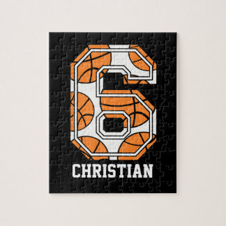 Personalized Basketball Number 6 Jigsaw Puzzles