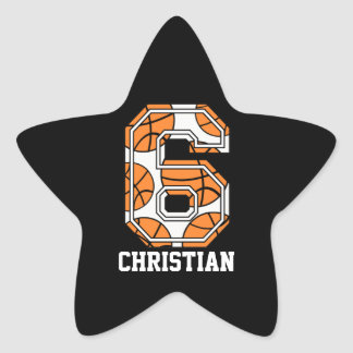 Personalized Basketball Number 6 Star Sticker