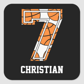 Personalized Basketball Number 7 Square Stickers