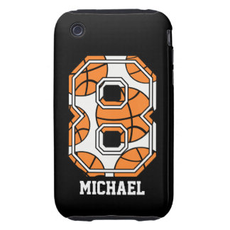 Personalized Basketball Number 8 Tough iPhone 3 Cases