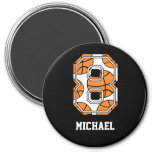 Personalized Basketball Number 8 Fridge Magnets