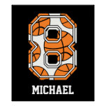 Personalized Basketball Number 8 Print