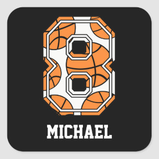 Personalized Basketball Number 8 Square Sticker
