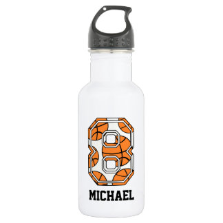 Personalized Basketball Number 8 Stainless Steel Water Bottle