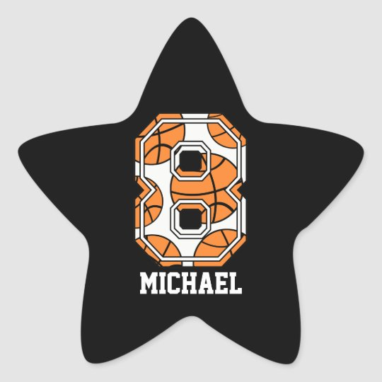 Personalized Basketball Number 8 Star Sticker