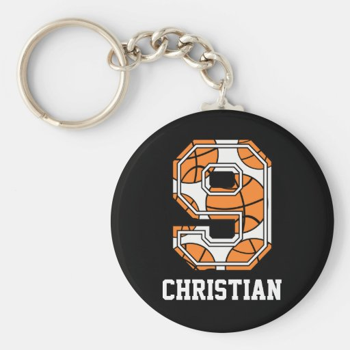 Personalized Basketball Number 9 Basic Round Button Keychain