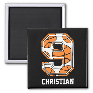 Personalized Basketball Number 9 Magnet