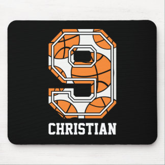 Personalized Basketball Number 9 Mouse Pad