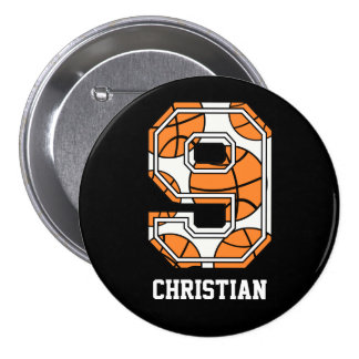 Personalized Basketball Number 9 Pinback Button