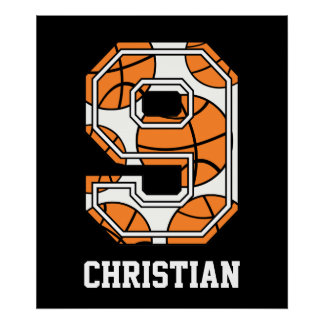 Personalized Basketball Number 9 Posters