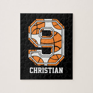 Personalized Basketball Number 9 Jigsaw Puzzles