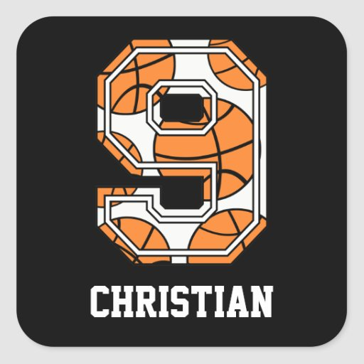 Personalized Basketball Number 9 Square Sticker