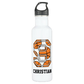 Personalized Basketball Number 9 Water Bottle