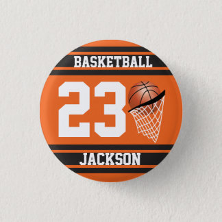 Personalized Basketball Orange and Black Pinback Button