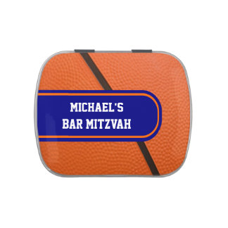 Personalized Basketball Orange and Blue Team Color Jelly Belly Candy Tin
