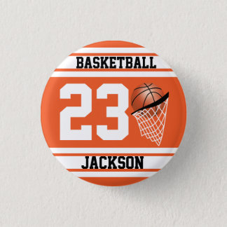 Personalized Basketball Orange and White Pinback Button