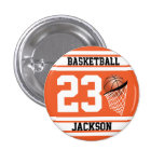 Personalized Basketball Orange and White Pinback Button