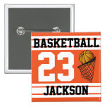 Personalized Basketball Orange and White Pins
