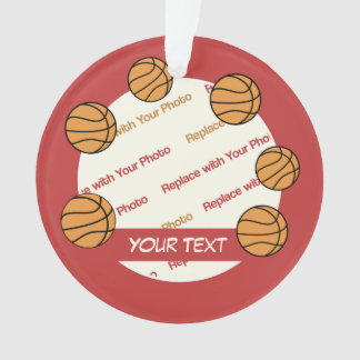 Personalized Basketball Photo and Text - 2 sided Ornament