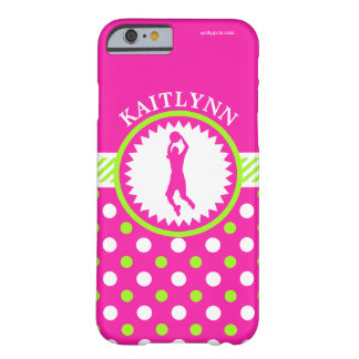 Personalized Basketball Pink - Green Polka-Dots Barely There iPhone 6 Case
