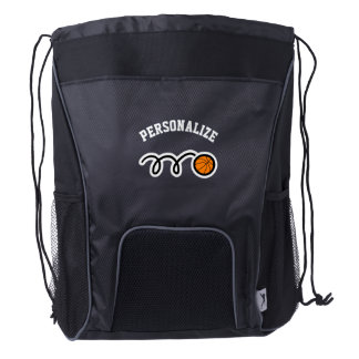 Personalized basketball player drawstring backpack