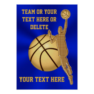 Personalized Basketball Posters Blue and Gold
