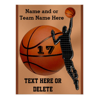 Personalized Basketball Posters Choose Poster Size