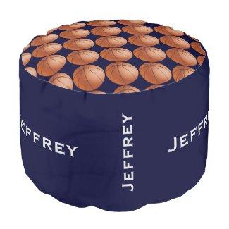 Personalized Basketball Pouf Cushion Seat Blue