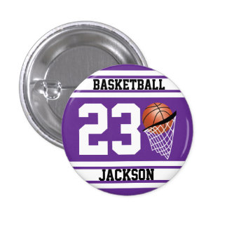 Personalized Basketball Purple and White Button