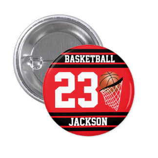 Personalized Basketball Red and Black Pinback Button