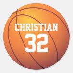 Personalized Basketball Round Sticker