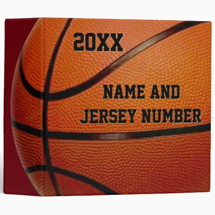 Personalized Basketball School Supplies, 3 Binder