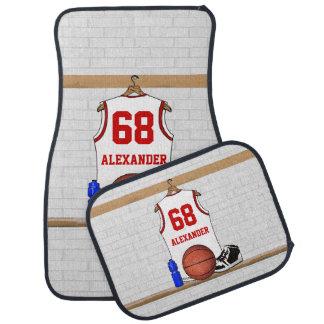Personalized basketball shirt in locker room car mat