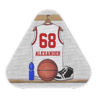 Personalized basketball shirt in locker room bluetooth speaker