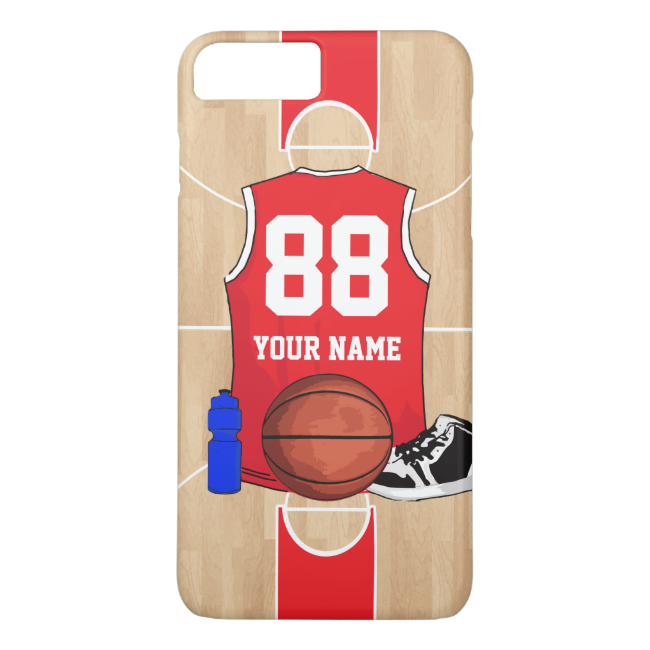 Personalized Basketball shirt on court iPhone 7 Plus Case
