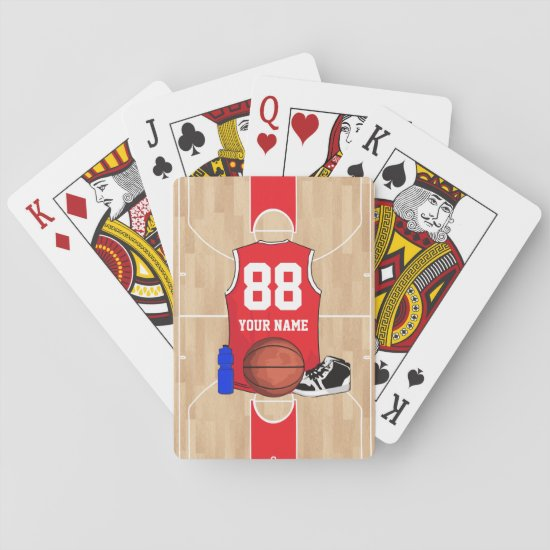 Personalized Basketball shirt on court Playing Cards