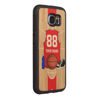 Personalized Basketball shirt on court Wood Phone Case