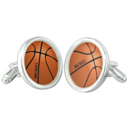 Personalized Basketball Silver Plated Round Cufflinks