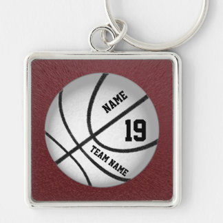 Personalized Basketball Team Gift Ideas Silver-Colored Square Keychain